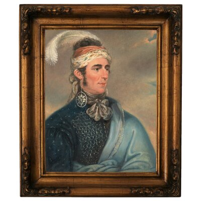 'Portrait of Major John Norton as Mohawk Chief Teyoninhokarawen' Framed Oil Painting Print on Canvas Format: Antique Gold Framed, Size: 19.5