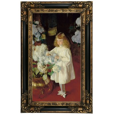 'Helen Sears 1895' by John Singer Sargent Framed Oil Painting Print on Canvas Format: Black/Gold Framed, Size: 27.25