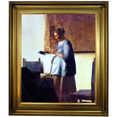'Women in Blue Reading a Letter' by Johannes Vermeer Framed Oil Painting Print on Canvas Format: Gold Framed, Size: 30