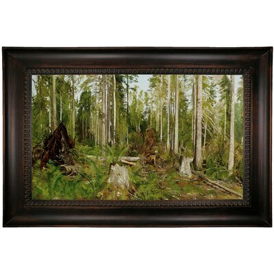 'Pine forest (a study) 1890s' Framed Oil Painting Print on Canvas Format: Dark Black Framed, Size: 26