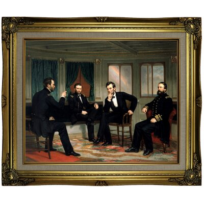 'The Peacemakers 1868 Sherman, Grant, Lincoln and Porter aboard the River Queen March 1865' Framed Oil Painting Print on Canvas in Gold ARGD4860 43590169