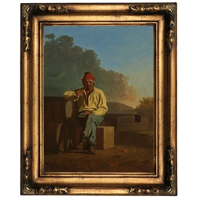 'Mississippi Boatman 1850' Framed Oil Painting Print on Canvas Format: Old Gold Framed, Size: 20.5