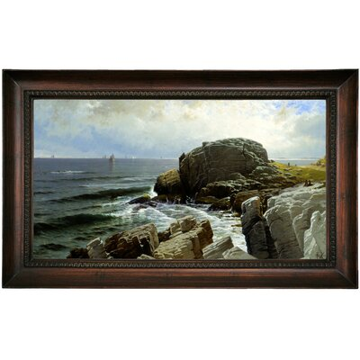'Castle Rock, Marblehead 1878' Framed Oil Painting Print on Canvas Format: Black Framed, Size: 15.5'' H x 25.5'' W x 1.5'' D