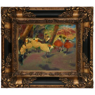 'Before the Performance 1896' by Edgar Degas Framed Print on Canvas Format: Black/Gold Frame, Size: 13.25