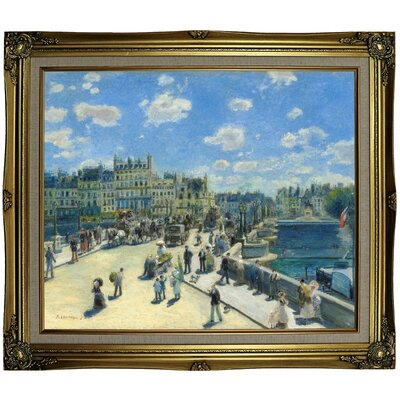 'Pont Neuf; Paris 1872' by Pierre-Auguste Renoir Framed Oil Painting Print on Canvas Format: Black Gold Framed, Size: 25.25