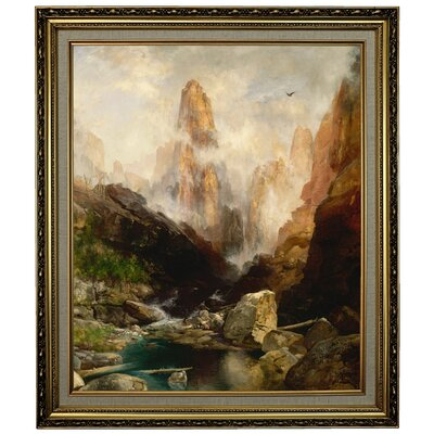 'Mist in Kanab Canyon, Utah' Framed Oil Painting Print on Canvas Format: Yellow Framed, Size: 28.15