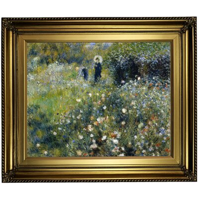'Woman with a Parasol in a Garden 1875' by Pierre-Auguste Renoir Framed Oil Painting Print on Canvas Format: Light Gold Framed, Size: 22