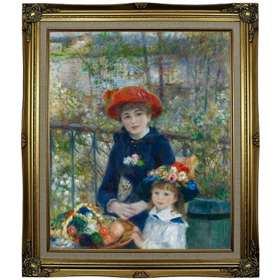 'Two Sisters (On the Terrace) 1881' by Pierre-Auguste Renoir Framed Oil Painting Print on Cavas Format: Black Gold Framed, Size: 29.25