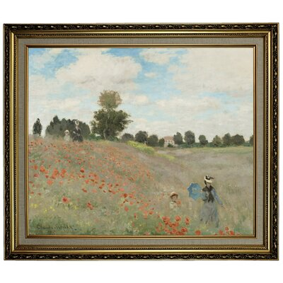 'Poppy Fields' by Claude Monet Framed Oil Painting Print on Canvas Format: Yellow Framed, Size: 24.15