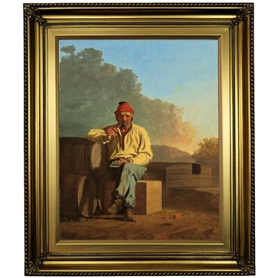 'Mississippi Boatman 1850' Framed Oil Painting Print on Canvas Format: Light Gold Framed, Size: 26