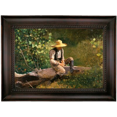 'The Whittling Boy' by Winslow Homer Framed Oil Painting Print on Canvas Format: Charcoal Framed, Size: 26