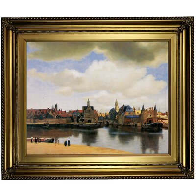 'View of Delft' by Johannes Vermeer Framed Oil Painting Print on Cavas Format: Light Gold Framed, Size: 22