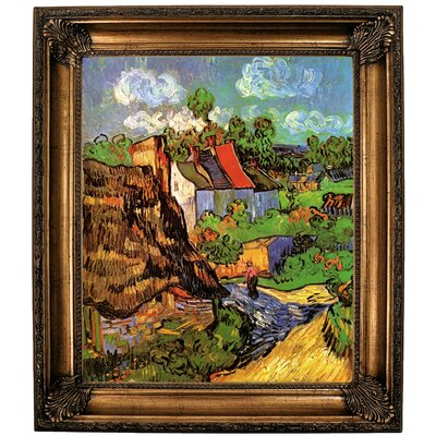 'Houses' Framed Oil Painting Print on Canvas Format: Bronze Framed, Size: 30.25