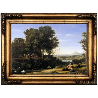 'Landscape with Apollo and the Muses 1652' Framed Oil Painting Print on Canvas Format: Bronze Framed, Size: 16.5