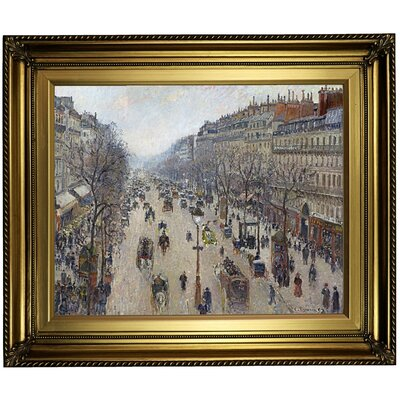 'Boulevard Montmartre, morning, cloudy weather 1897' by Camille Pissarro Framed Oil Painting Print on Canvas Format: Dark Bronze Framed, Size: 22'' H x 26'' W x 1.5'' D