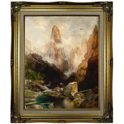 'Mist in Kanab Canyon, Utah' Framed Oil Painting Print on Canvas Format: Brown/Gold Framed, Size: 25.25