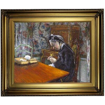 'Mademoiselle Boissiere Knitting 1877' Framed Oil Painting Print on Canvas Format: Gold Framed, Size: 22