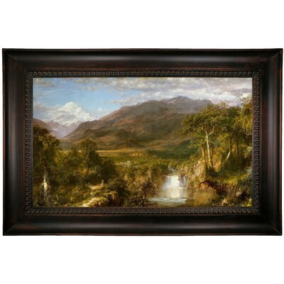 'The Heart of the Andes 1859' Framed Oil Painting Print on Canvas Format: Dark Black Framed, Size: 26