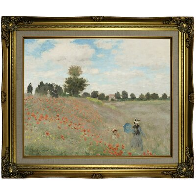'Poppy Fields' by Claude Monet Framed Oil Painting Print on Canvas Format: Brown/Gold Framed, Size: 21.25