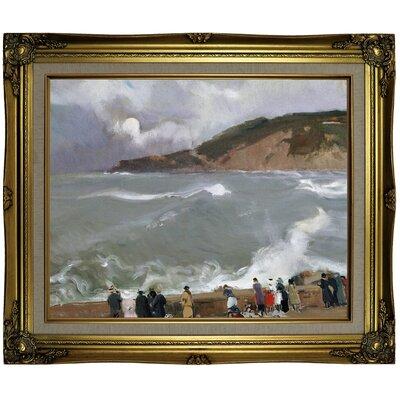 'Breakwater, San Sebastian 1918' Framed Oil Painting Print on Canvas Format: Light Brown Framed, Size: 21.25'' H x 25.25'' W x 1.5'' D