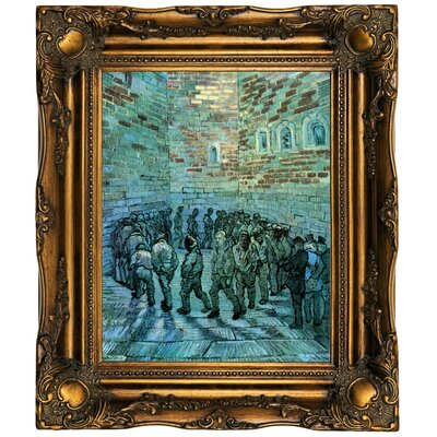 'Prisoners Exercising after Dore' by Vincent van Gogh  Framed Oil Painting Print on Canvas Format: Dark Gold Framed, Size: 19.5
