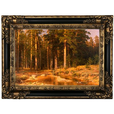 'Mast Tree grove 1887' Framed Oil Painting Print on Canvas Format: Black/Gold Framed, Size: 17.25