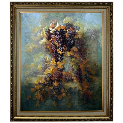 'Grapes and Architecture 1907'  Framed Oil Painting Print on Canvas Format: Yellow Framed, Size: 28.15