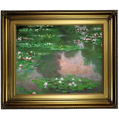 'The Water Lillie' by Claude Monet Framed Oil Painting Print on Canvas Format: Light Gold Framed, Size: 22