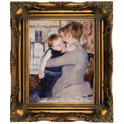 'Mother and Child' by Mary Cassatt Framed Oil Painting Print on Canvas Format: Dark Gold Framed, Size: 19.5