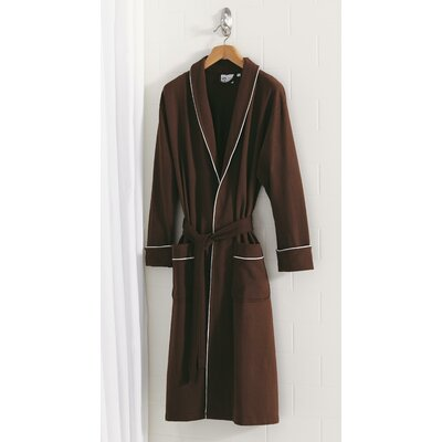 French Terry Robe Size: Large/Extra Large, Color: Dark Chocolate/Pale Pink