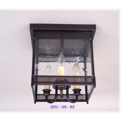 Erroll 3-Light Outdoor Flush Mount Fixture Finish: Painted Black, Shade Color: Drawn Antique