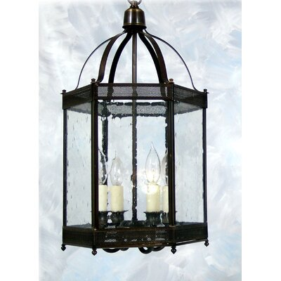Chearsley 4-Light Glass Shade Foyer Pendant Fixture Finish: Antique Brass, Shade Color: Seeded