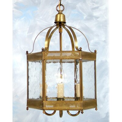 Chearsley 3-Light Foyer Pendant Shade Finish: Dark Antique Brass, Shade Color: Clear