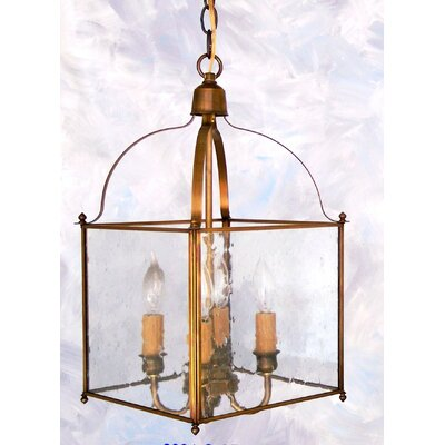 Chearsley 4-Light Foyer Pendant Fixture Finish: Antique Brass, Shade Color: Clear