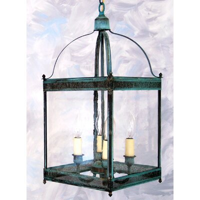 Chearsley 4-Light Foyer Pendant Fixture Finish: Verde Green, Shade Color: Drawn Antique