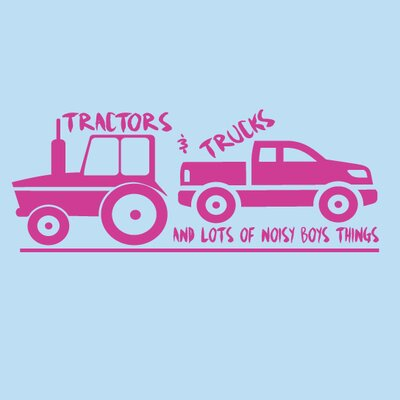 Tractors and Trucks Wall Decal Color: Hot Pink 1371Hot Pink
