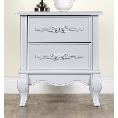 Aurora 2 Drawer Nightstand Color: Akoya Gray Pearl