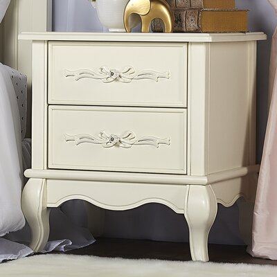 Aurora 2 Drawer Nightstand Color: Ivory Lace