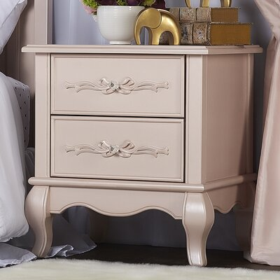 Aurora 2 Drawer Nightstand Color: Blush Pink Pearl