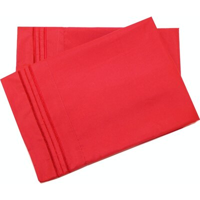 Oldbury Soft and Comfortable Pillow Case Color: Red, Size: King