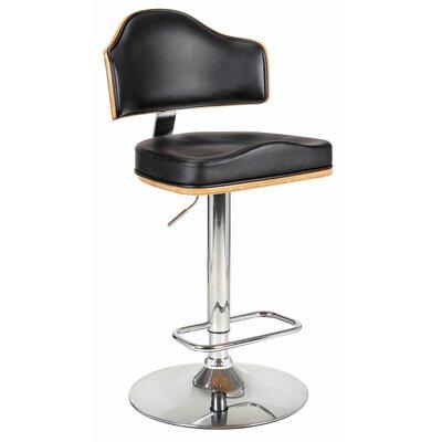 Homegear Riu Adjustable Height Swivel Bar Stool with Cushion - Color: Black