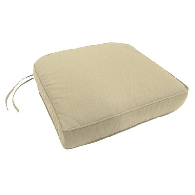 Double-Piped Outdoor Sunbrella Contour Chair Cushion with Ties and Zipper