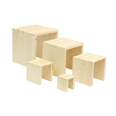 5 Piece Slatted Square Riser Set