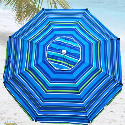 8 Premium Beach Umbrella with Integrated Anchor, Hanging Hook, and Drink Holder