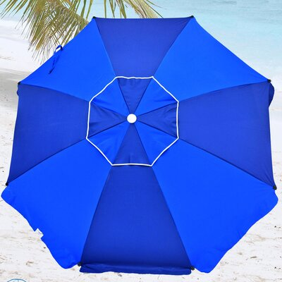 8 Premium Beach Umbrella with Integrated Anchor, Hanging Hook, Drink Holder