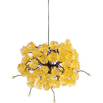 Rosettes 1-Light Mini Pendant Shade Color: Citrus Gold