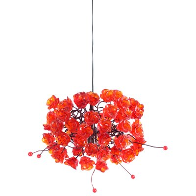 Rosettes 1-Light Mini Pendant Shade Color: Red