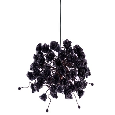 Rosettes 1-Light Mini Pendant Shade Color: Black