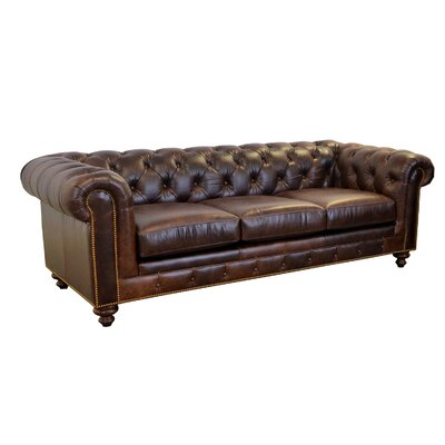 Newbury Leather Chesterfield Sofa Upholstery Color: Brompton Brown