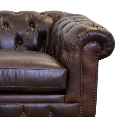 Newbury Genuine Top Grain Tufted Leather Chesterfield Sofa Upholstery Color: Brompton Brown